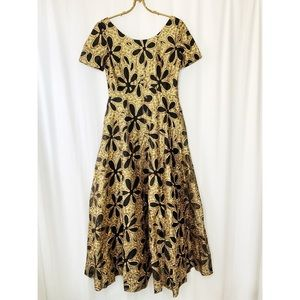 Vintage gold and black floral fit and flare gown